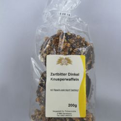 Dinkelwaffeln in Zartbitter mit Haselnußkrokant